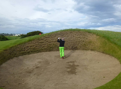 The Golf Insomniac in the Spectacles at Carnoustie. It's a large bunker.