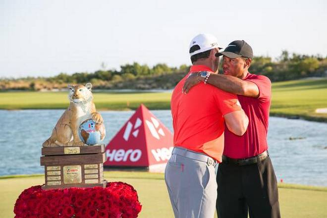 Tiger Woods congratulates Jon Rahm on winning the Hero World Challenge