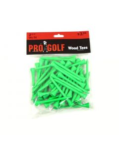 Pro Golf 2 3/4 inch Wood Tees Neon Green