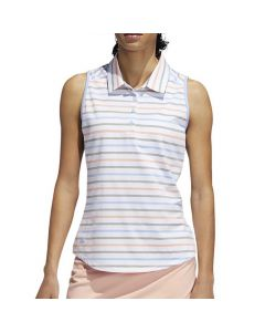 Adidas FW19 Women's Ultimate Stripe Sleeveless Polo White/Blue/Pink