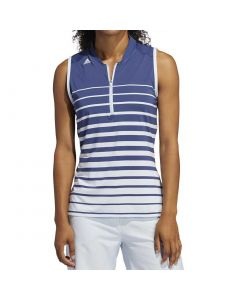 Adidas Ss20 Womens Engineered Stripe Sleeveless Polo Tech Indigo