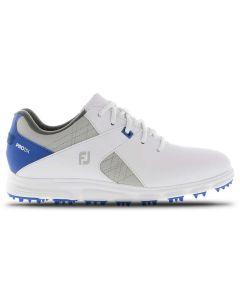 Footjoy Juniors Pro Sl Golf Shoes White Grey Blue Profile