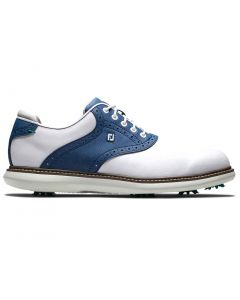 Footjoy Traditions Golf Shoes White Navy Profile