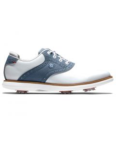 Footjoy Womens Traditions Golf Shoes White Blue Profile