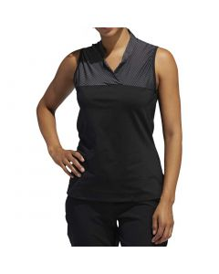 Golf Apparel Adidas Ss20 Womens Crossover Sleeveless Polo Black