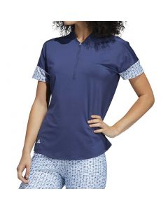 Golf Apparel Adidas Ss20 Womens Ultimate365 Printed Polo Tech Indigo