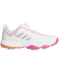 Golf Shoes Adidas Juniors Codechaos Boa Golf Shoes White Pink Orange Profile