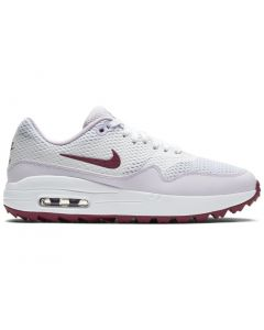 Golf Shoes Nike Womens Air Max 1 G Golf Shoes White Villain Red Side