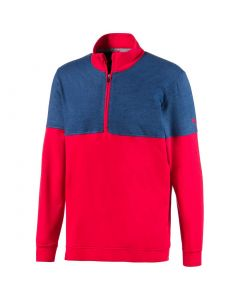 Golf Top Puma Warm Up Pullover Barbados Cherry Dark Denim