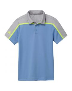Junior Golf Apparel Adidas Ss20 Boys Colorblock Polo Light Blue