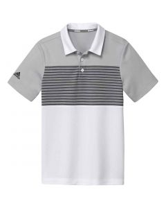 Junior Golf Apparel Adidas Ss20 Boys Engineered Stripe Polo Grey Two