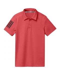 Junior Golf Apparel Adidas Ss20 Boys Performance Stripe Polo Real Coral