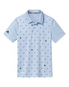 Junior Golf Apparel Adidas Ss20 Boys Print Polo Sky Tint