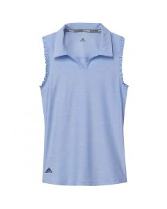 Junior Golf Apparel Adidas Ss20 Girls Spacedye Sleeveless Polo Glow Blue
