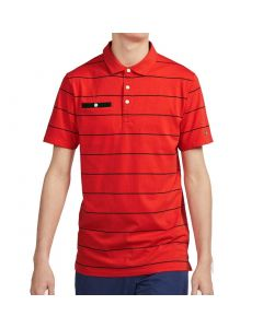 Nike Dri-FIT Player Stripe Pocket Polo Habanero Red
