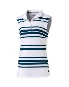 Puma Girls Stripe Sleeveless Polo Gibraltar Sea