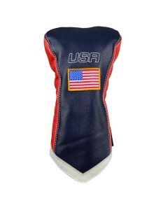 Sun Mountain Leather Driver Headcover Navy/White/Red