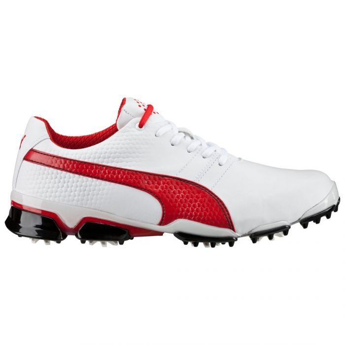 Puma TitanTour Ignite Golf Shoes White/High Risk Red