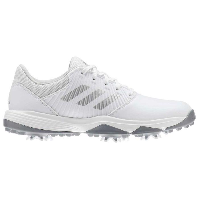 Adidas Juniors CP Traxion Golf Shoes White/Silver