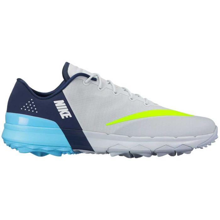 Nike FI Flex Golf Shoes Platinum/Volt/Blue