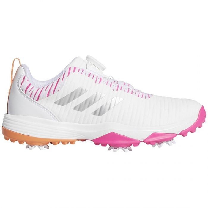 Adidas Juniors Codechaos BOA Golf Shoes White/Pink/Orange
