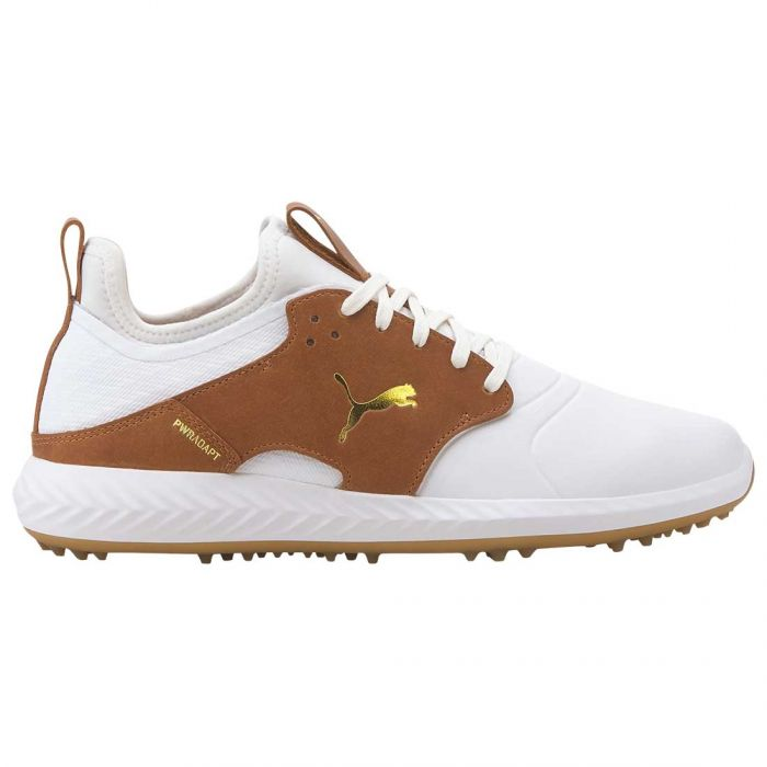 Puma Ignite PWRADAPT Caged Crafted Golf Shoes White/Leather Brown