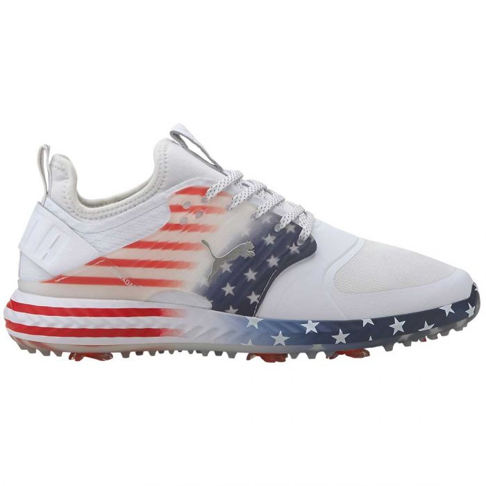 Puma Ignite PWRADAPT Caged Stars and Stripes Golf Shoes White/Peacoat/High Risk Red
