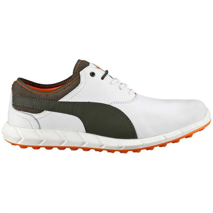 Puma Ignite Spikeless Golf Shoes White/Brown/Orange