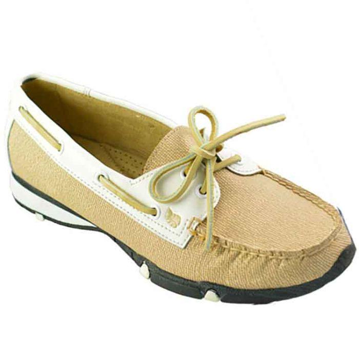 GolfStream Shoes Women's Marina Loafer Golf Shoes White/Beach Beige