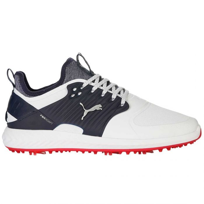 Puma Ignite PWRADAPT Caged Golf Shoes White/Peacoat/Red