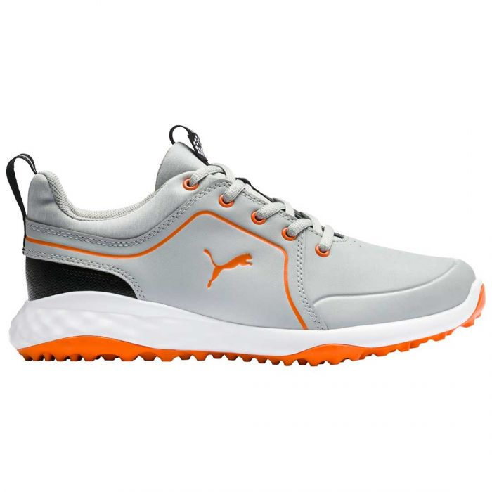 Puma Juniors Grip Fusion 2.0 Golf Shoes High Rise/Vibrant Orange