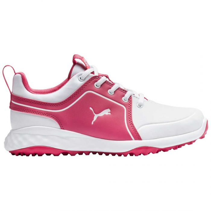 Puma Juniors Grip Fusion 2.0 Golf Shoes White/Rapture Rose