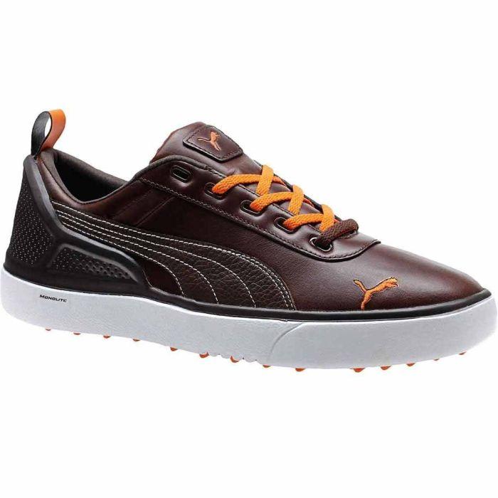 Puma Monolite Spikeless Golf Shoes Chestnut/Black/Orange