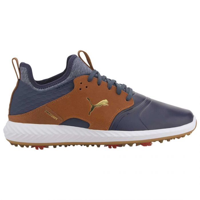 Puma Ignite PWRADAPT Caged Crafted Golf Shoes Peacoat/Leather Brown
