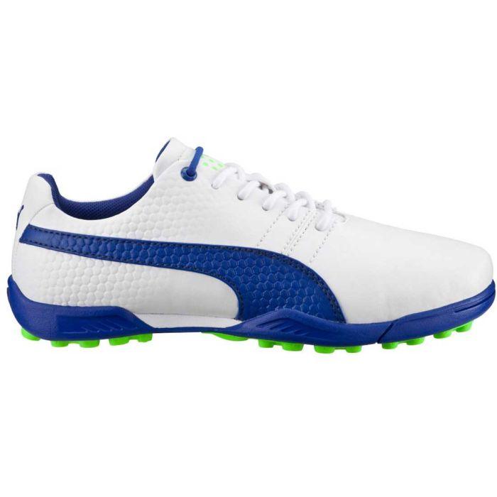 Puma TitanTour V2 Jr Golf Shoes White/Surf the Web/Green Gecko
