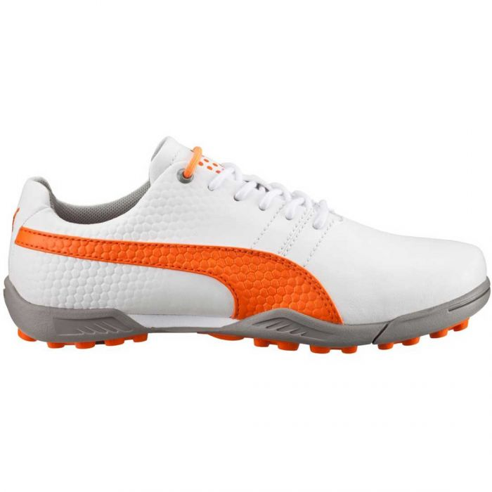 Puma TitanTour V2 Jr Golf Shoes White/Vibrant Orange