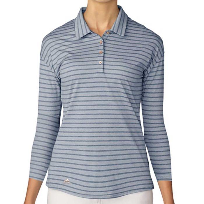Adidas Women's Tonal Stripe 3/4 Sleeve Polo