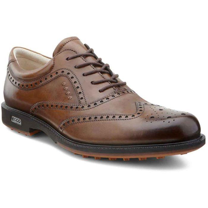 Ecco Tour Hybrid Wingtip Golf Shoes Walnut
