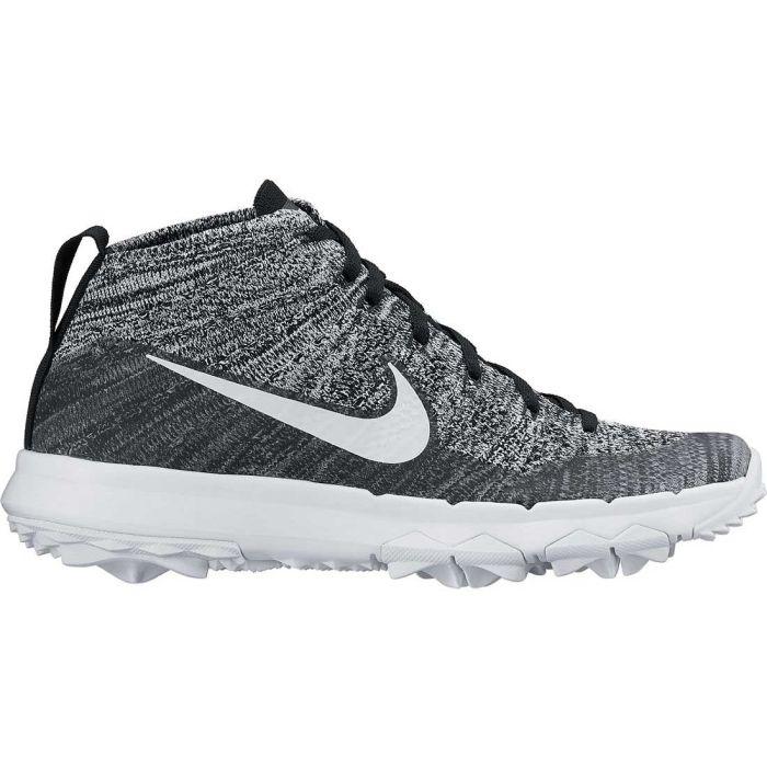 Nike Women's Flyknit Chukka Golf Shoes Black/White