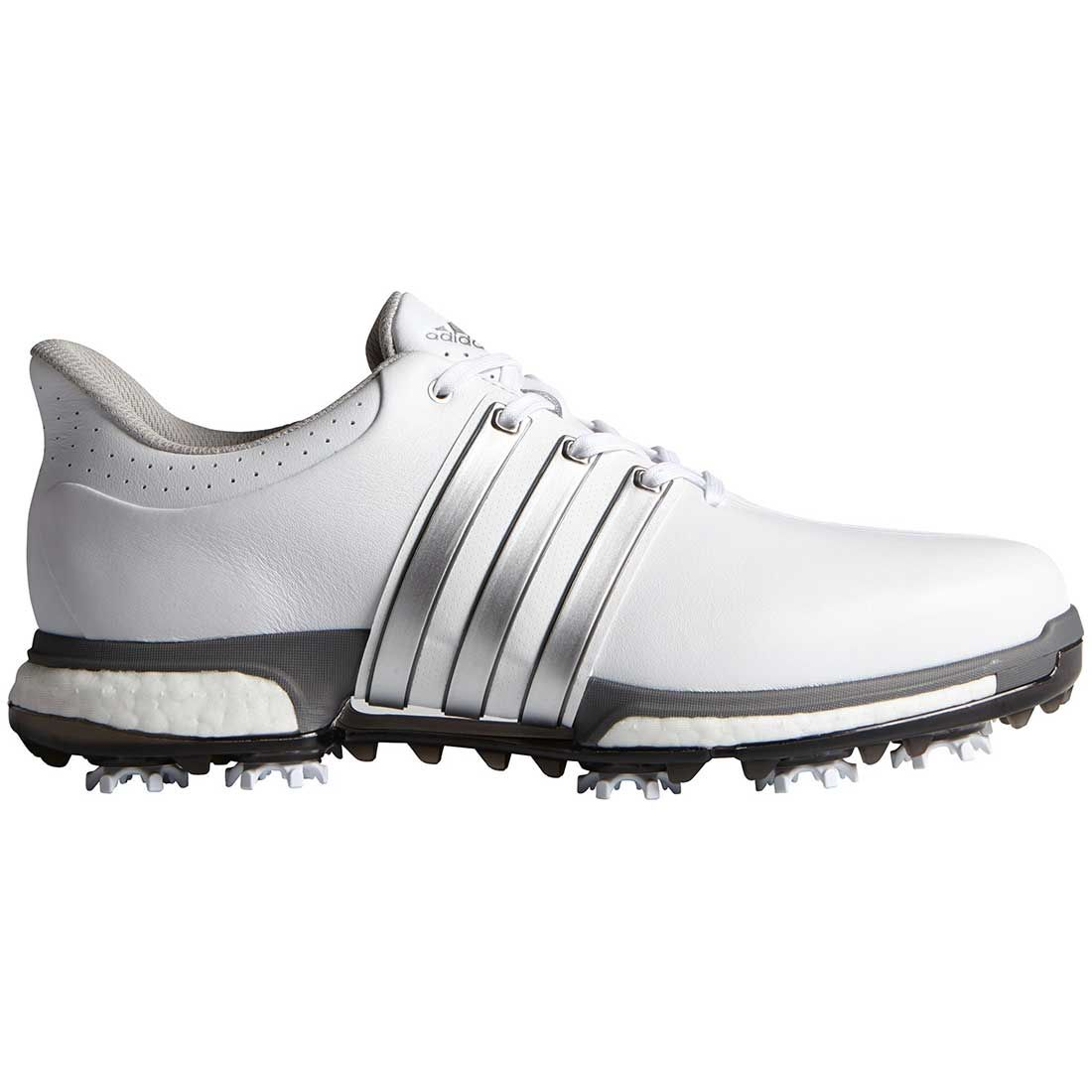 Buy Adidas Tour360 Boost Golf Shoes White/Silver   Golf Discount