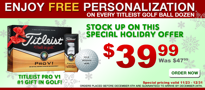 Titleist PRO V1 golf ball dozens - only $39.99 with FREE PERSONALIZATION!